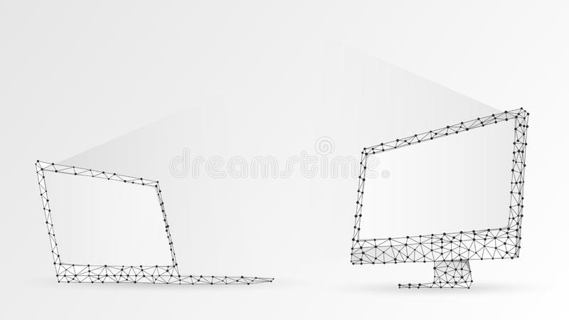 Laptop and computer monitors composed of polygons. Electronic devices with white screen. Abstract, digital, wireframe, low poly. Mesh vector white origami 3d vector illustration