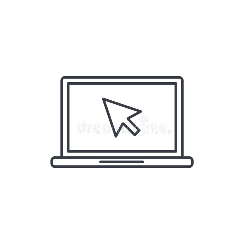 Laptop computer, notebook and cursor click thin line icon. Linear vector symbol. Laptop computer, notebook and cursor click thin line icon. Linear vector vector illustration