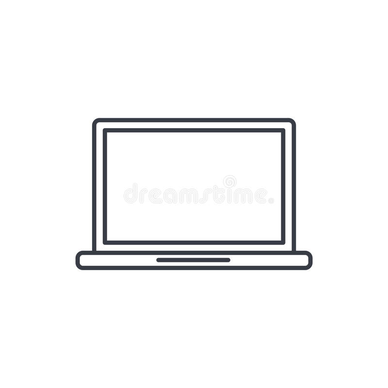 Laptop computer, notebook thin line icon. Linear vector symbol. Laptop computer, notebook thin line icon. Linear vector illustration. Pictogram isolated on white stock illustration