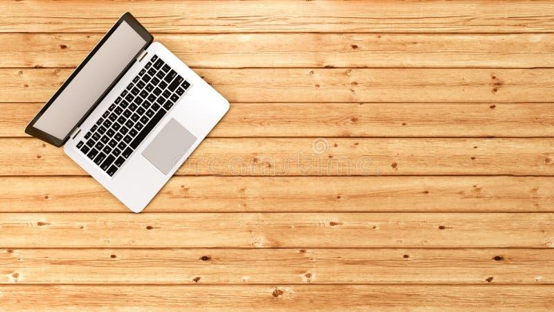Laptop Computer op Houten Vloer stock illustratie