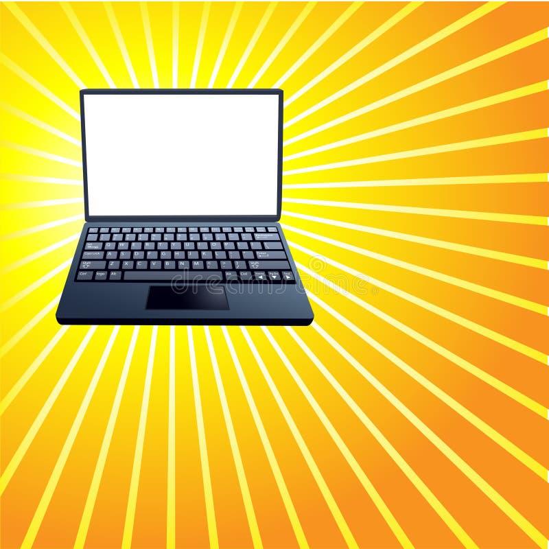 Free Laptop Computer Shiny Yellow Rays Background Stock Photography - 12592862