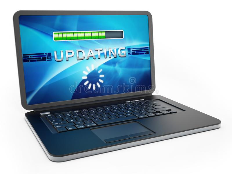 Laptop computer with software update screen. 3D illustration.  vector illustration
