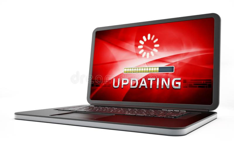 Laptop computer with software update screen. 3D illustration.  stock illustration