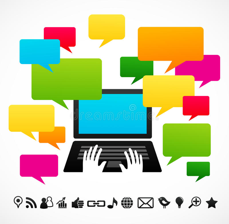 Download Laptop Computer With Speech Bubbles Stock Vector - Image: 19658805