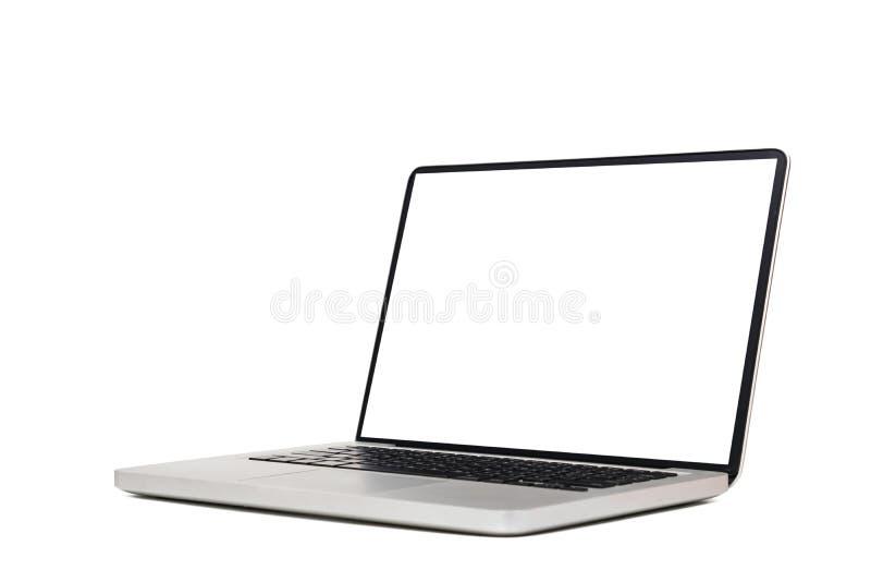 Laptop-Computer Spott oben mit dem leeren leeren weißen Schirm lokalisiert auf weißem Hintergrund mit Beschneidungspfad, Seitenan lizenzfreies stockbild