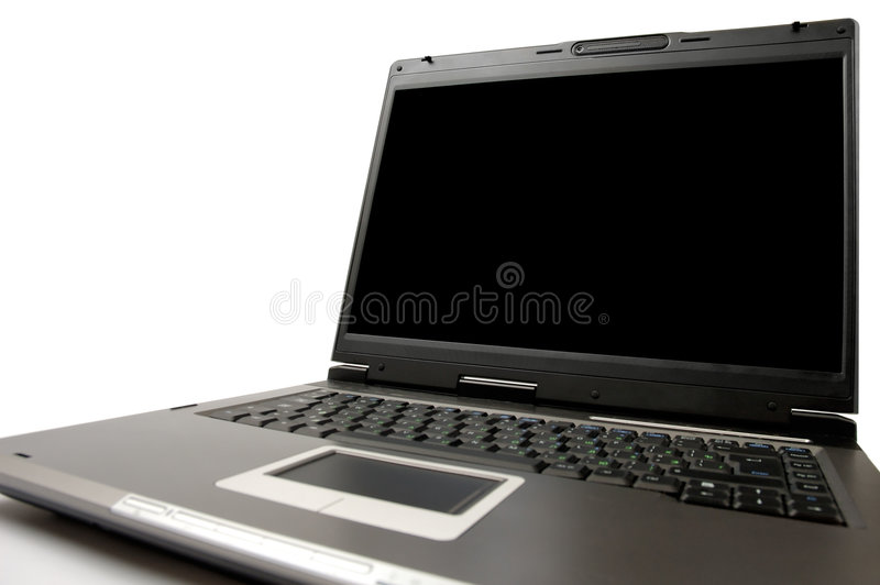 Laptop computer on a table close-up isolated stock image