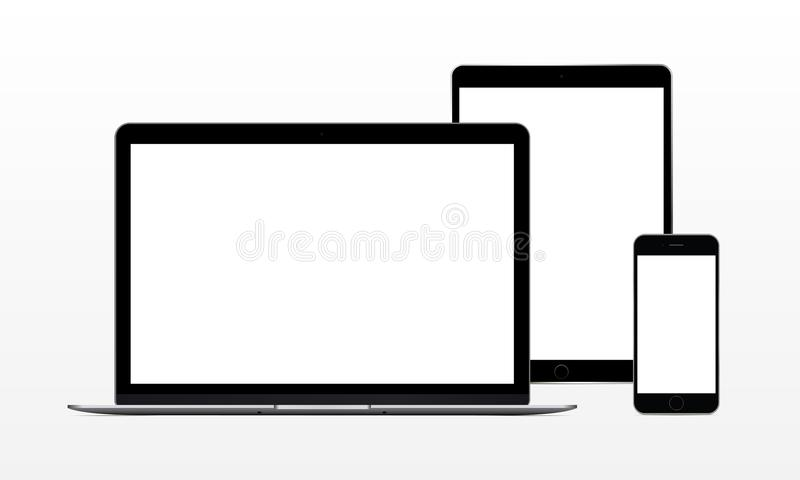 Laptop computer, tablet, phone. Set of modern electronic devices - laptop computer, tablet, phone. Mockup to showcase web-site design. Vector illustration vector illustration