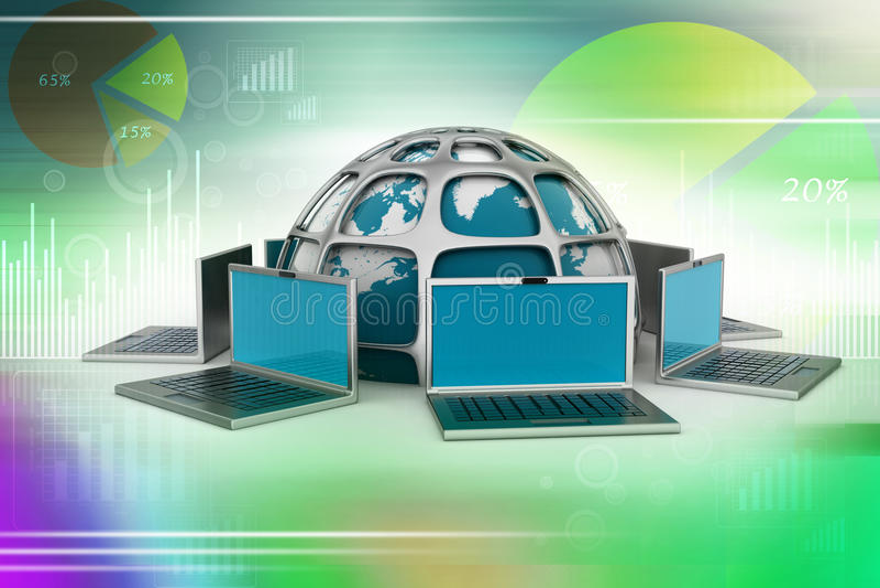 Laptop-Computer um eine Welt vektor abbildung
