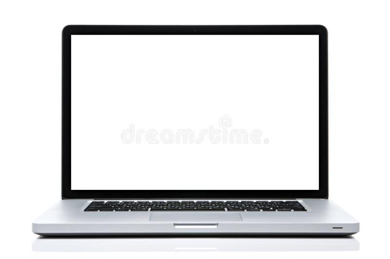 Laptop-Computer weißer Schirm auf lokalisiertem Weiß lizenzfreies stockfoto