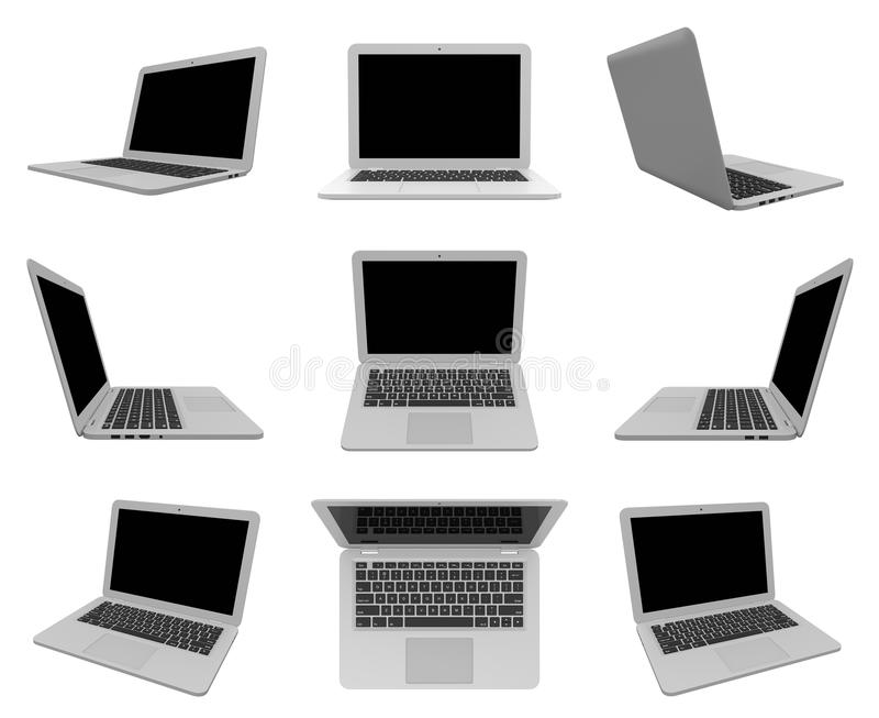 Laptop Computer on White, Multiple View Series. Laptop Computer with Blank Black Screen on White Background 3D Illustration, Multiple View Series royalty free illustration