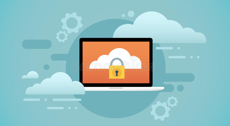 Laptop-Computer Wolken-Datenbank-Verschluss-Schirm-Daten-Schutz der Privatsphäre vektor abbildung