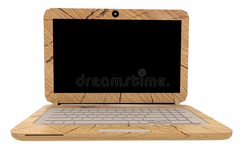 Laptop computer wooden ecology recyclable materials - 3d rendering royalty free illustration