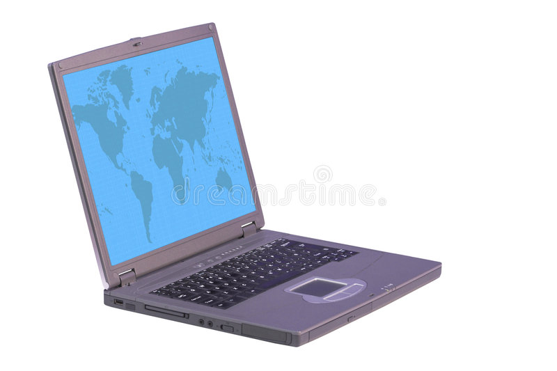 Download Laptop Computer With World On Screen Stock Photo - Image: 143818