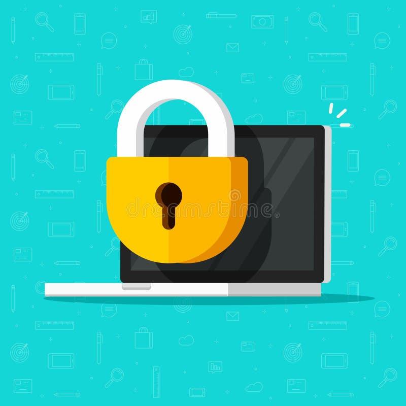 Laptop computerbeveiliging vectorpictogram, vlakke Desktoppc met gesloten slot, concept firewallbescherming, privacytoegang stock illustratie