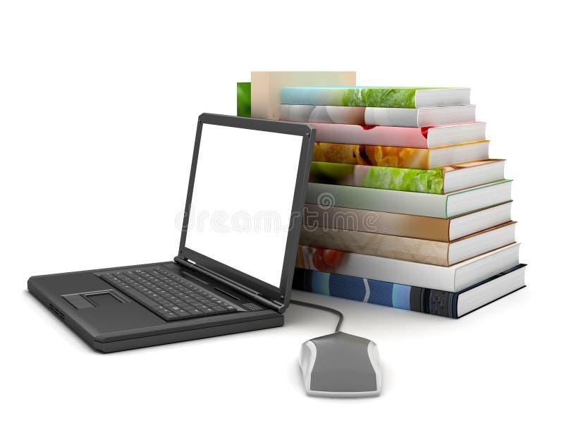 Laptop, computermuis en stapel boeken royalty-vrije illustratie
