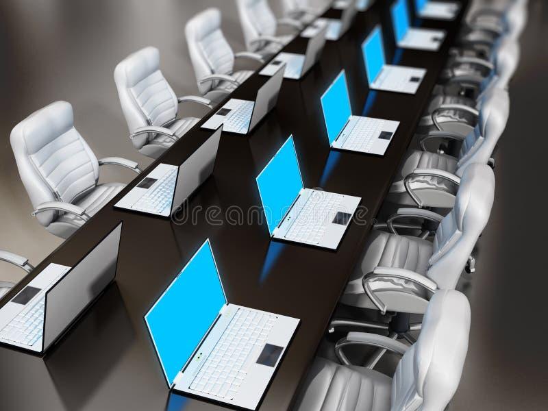 Laptop computers die zich op bestuurskamerlijst bevinden stock illustratie