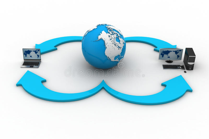 Laptop computers with Earth Globe on a white background stock illustration