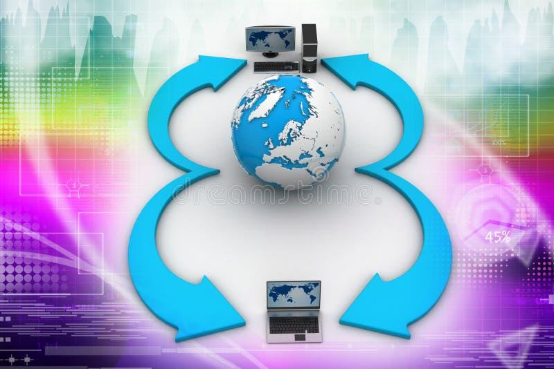 Laptop computers met Aardebol vector illustratie