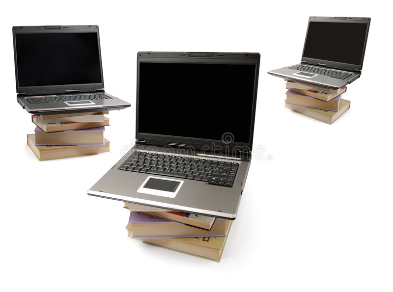Download Laptop Computers On Piles Of Books Stock Image - Image: 5788113