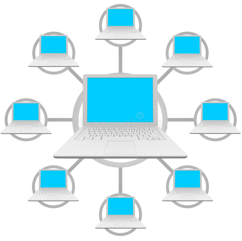 Laptop Computers - Social Network Grid vector illustration
