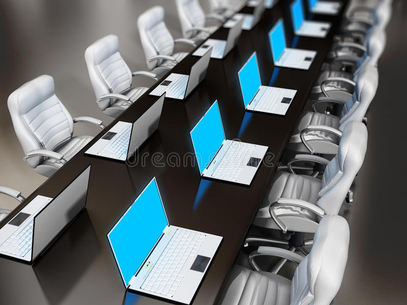 Laptop computers standing on boardroom table. Laptop computers standing on wooden boardroom table stock illustration