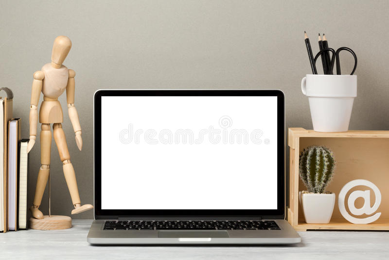 Laptop computerspot omhoog stock fotografie