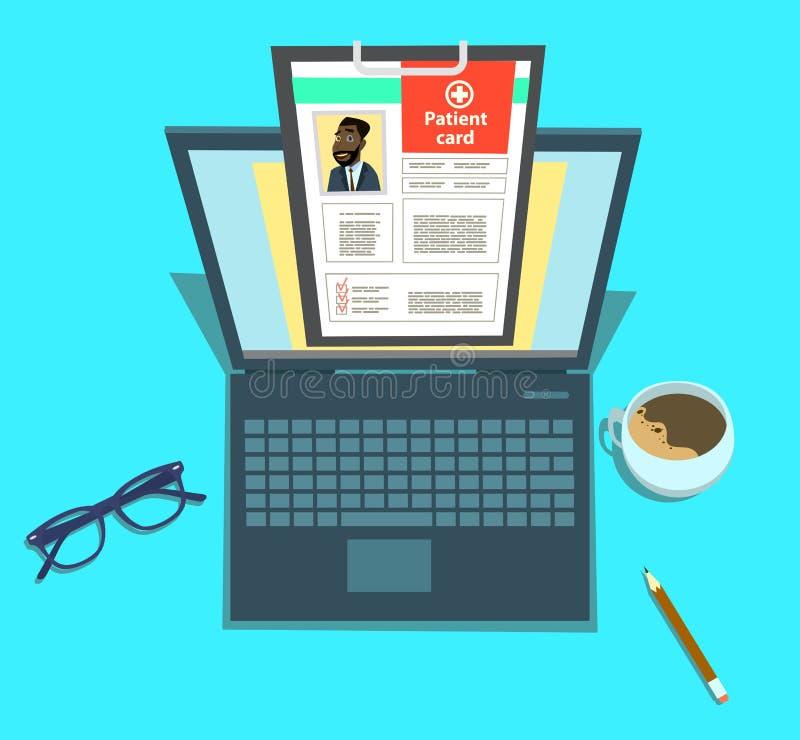 Laptop con appunti per uso medico Concetto della carta paziente fotografia stock libera da diritti