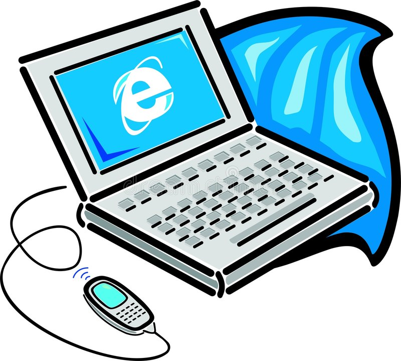 Laptop connected with a cell phone stock illustration