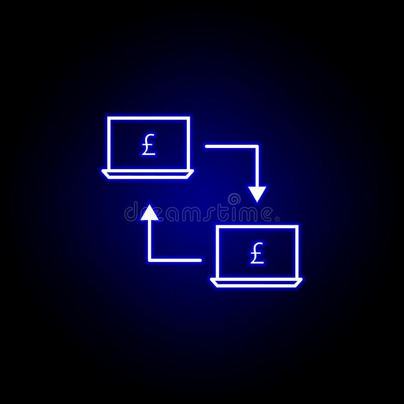 laptop connection pound icon in neon style. Element of finance illustration. Signs and symbols icon can be used for web, logo, royalty free illustration