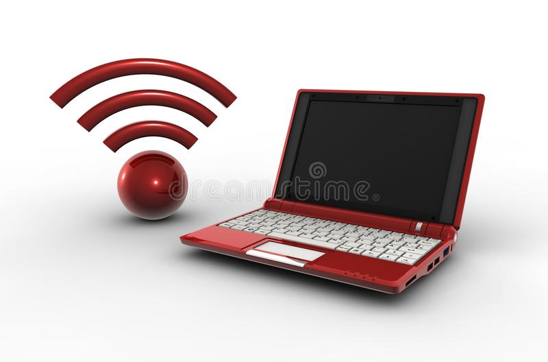 Laptop and connexion. Red laptop and wifi connexion royalty free illustration