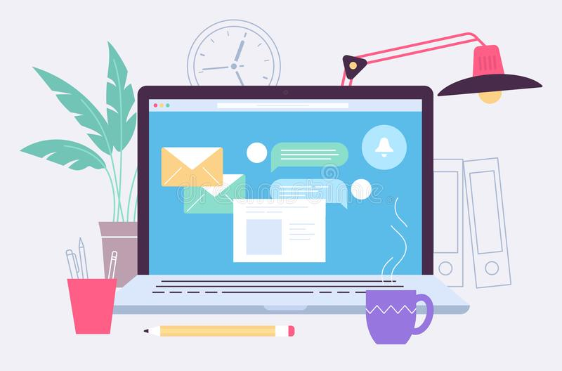 Laptop copy. The laptop screen and working place illustration. Flat line design. Laptop and different items including cup, tree, flower, lamp, pencil. Letters on stock illustration