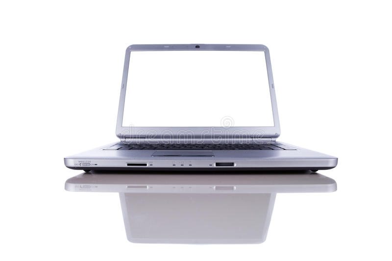 Laptop with copy space screen stock photo