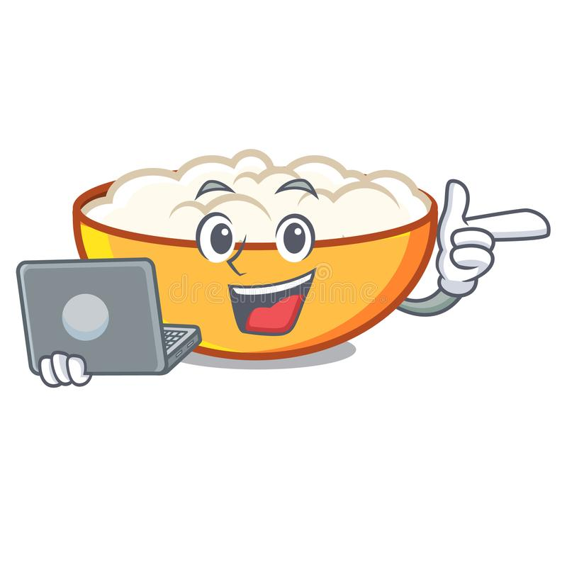 With laptop cottage cheese character cartoon. Vector illustration stock illustration