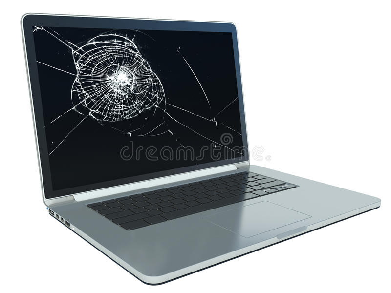 Laptop with cracked screen on white.  stock images