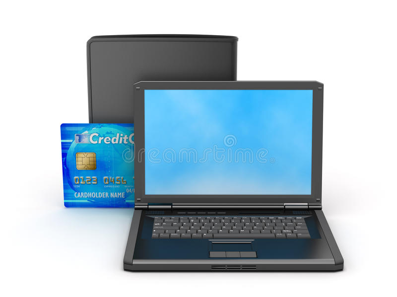 Download Laptop, Credit Card And Black Wallet Stock Image - Image of palmtop, portable: 39509911