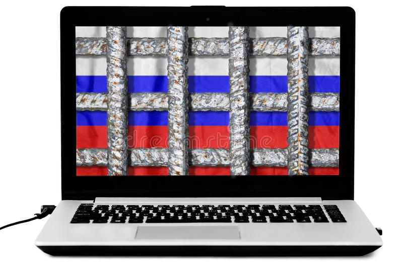 Laptop with crossed prison grate and a russian flag on the screen isolated on white background stock images