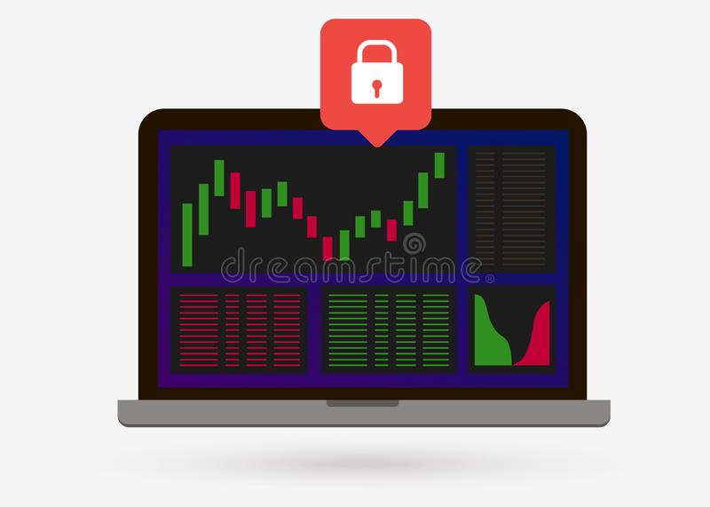 The login page is protected on cryptocurrency and Forex exchange. royalty free illustration