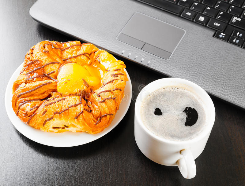 Download Laptop and cup of coffee stock image. Image of laptop - 26315001