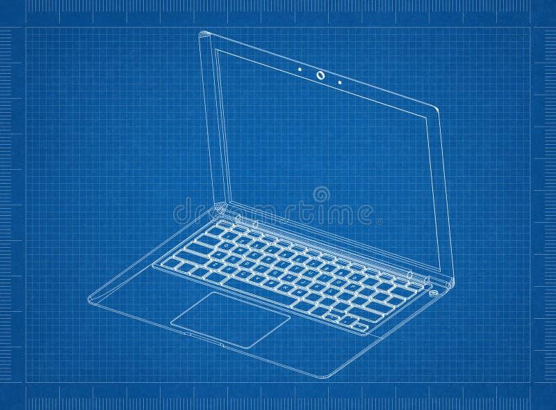 Laptop 3D blauwdruk stock afbeelding