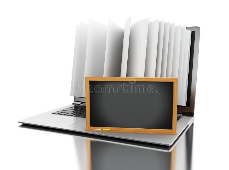 laptop 3d com páginas do livro e o quadro-negro vazio ilustração do vetor