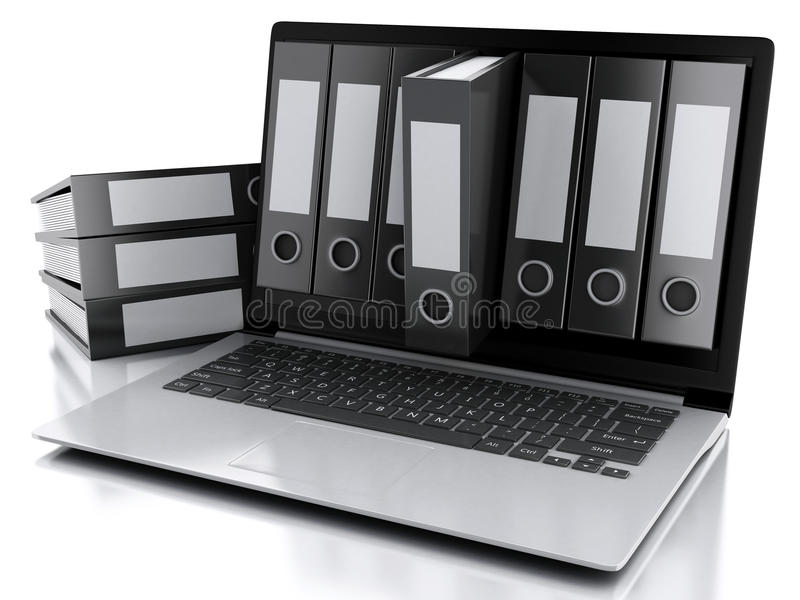 Laptop 3d und Dateien Lokalisierter weißer Hintergrund lizenzfreie abbildung