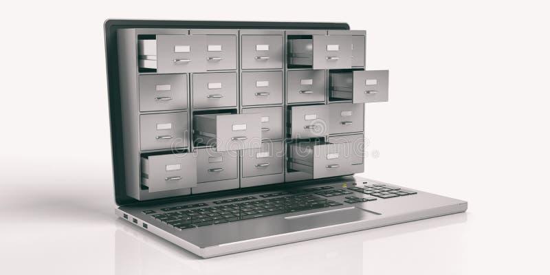 Laptop data storage concept. 3d illustration. Computer data storage concept. Filing cabinet on a laptop screen. 3d illustration stock illustration