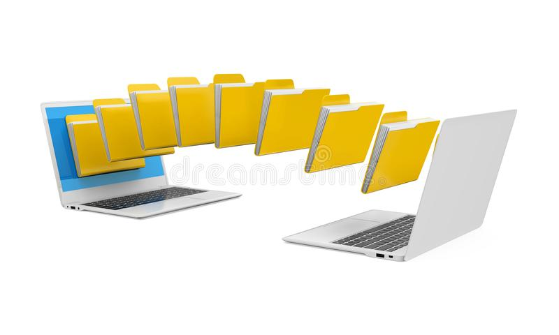 Laptop Data Transferring Isolated stock illustration