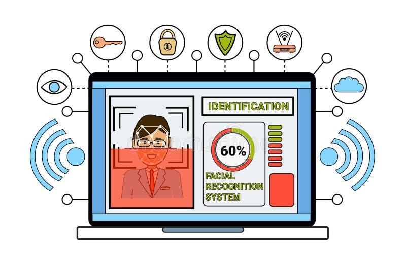Laptop de Identificatie van het van Bedrijfs biometrical van het Computeridentificatiesysteem van het het Aftastengezicht Menseng royalty-vrije illustratie