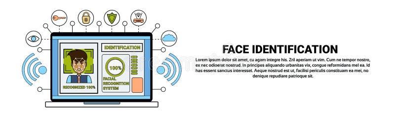 Laptop de Identificatie van het van Bedrijfs biometrical van het Computeridentificatiesysteem van het het Aftastengezicht Menseng stock illustratie