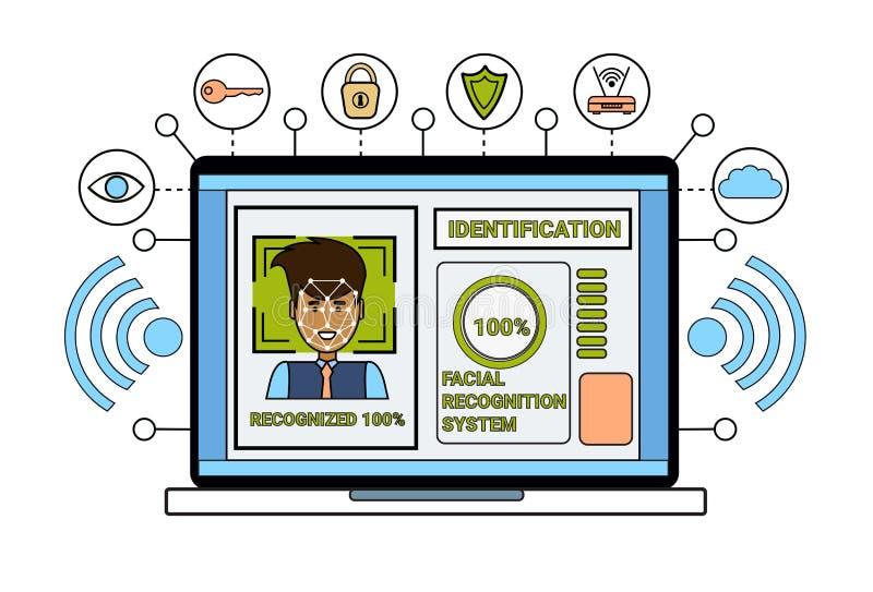 Laptop de Identificatie van het van Bedrijfs biometrical van het Computeridentificatiesysteem van het het Aftastengezicht Menseng vector illustratie