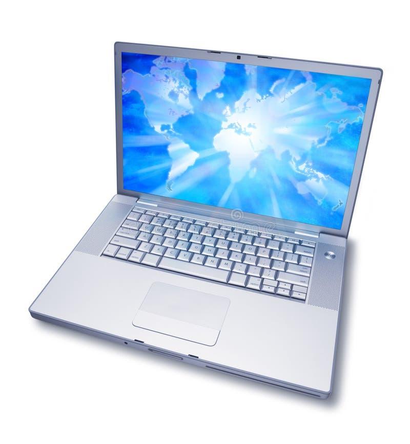 Laptop de Kaart van de Wereld van de Computer stock fotografie