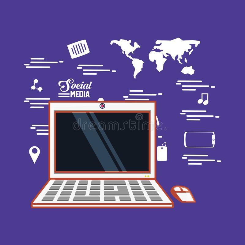 Laptop de media van de computermuis socail wereld vector illustratie