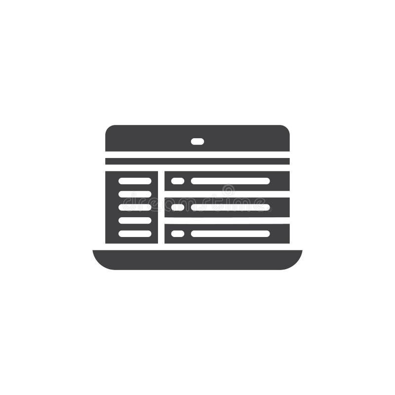 Laptop de online vector van het praatjepictogram stock illustratie