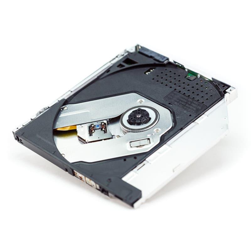 Laptop de optische aandrijving van CD dvd dvdrw die op witte achtergrond wordt geïsoleerd royalty-vrije stock fotografie